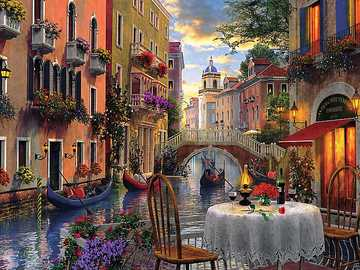 Painted Venice. - Jigsaw puzzle. Painting.