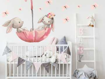 children's room - wallpaper with bunnies in an umbrella - m ...........................