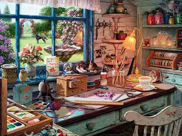 Painting room - Painting room with a view of the garden