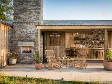 great britain- terrace with fireplace - m ...................