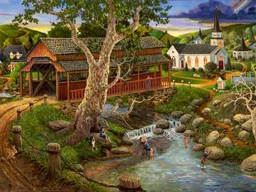 In a small village. - Landscape puzzle.