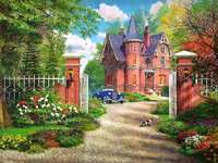 House in the suburbs. - Landscape puzzle.