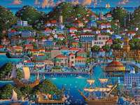 On the river and at the seaside. - Landscape puzzle.