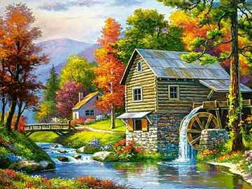 Painting. - Painting: Mill on the river.