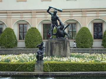 Prague - Czech Republic - One of the sculptures in the Wallenstein Gardens in Prague.