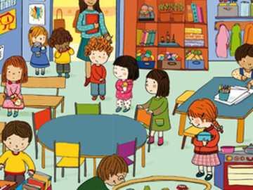 En el jardín de infancia - El jardín de infancia está lleno de juguetes.