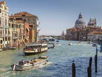 Grand Canal in Venice - Grand Canal in Venice with boats and buildings.