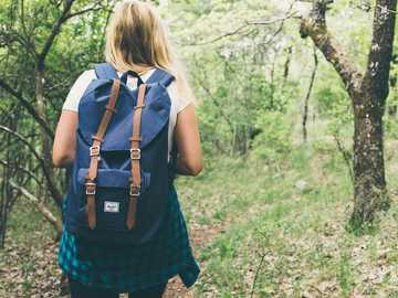 Wycieczkowicz w zielonym lesie - kobieta nosi plecak chodzenie po lesie. Birmingham, Stany Zjednoczone