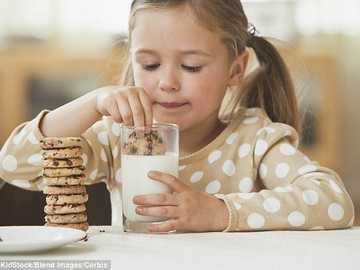I like cookies with milk - Girl eating cookie with milk.