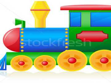 colored locomotive - land transport in blue, green and yellow