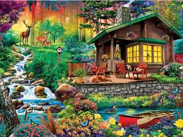 A cabin in the woods. - Landscape puzzle.