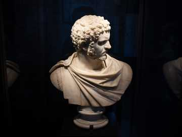man head byst - A bust of Caracalla from the little museum inside the colosseum.