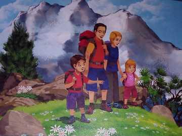 Familie in den Bergen - Die Ferien sind vorbei, versuchen Sie die Rätsel zu lösen und Sie werden herausfinden, wie die Fam