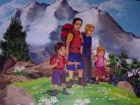 família nas montanhas