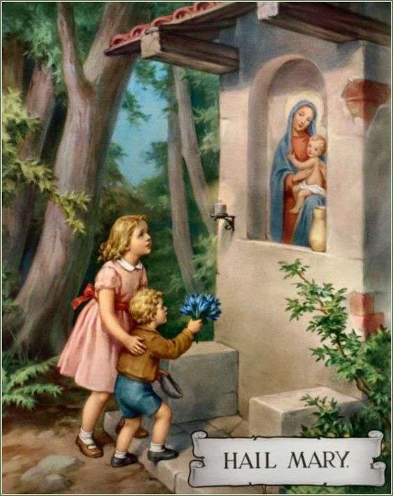 copiii vizitează Fecioara Maria