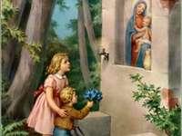crianças visitam a Virgem Maria - ame a virgem maria