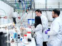 Gli ingegneri chimici sviluppano soluzioni di accumulo di energia pulita - uomo in tuta da cuoco bianco in piedi davanti a bottiglie di plastica bianche e rosse.