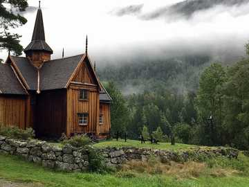 Landscape with wooden buildings in Norway - Landscape with wooden buildings in Norway