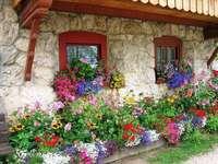 otthon- virágok kirakós