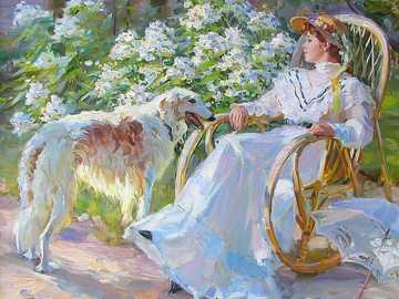 Ζωγραφική. - Εικόνα: Κυρία με ένα σκυλάκι.