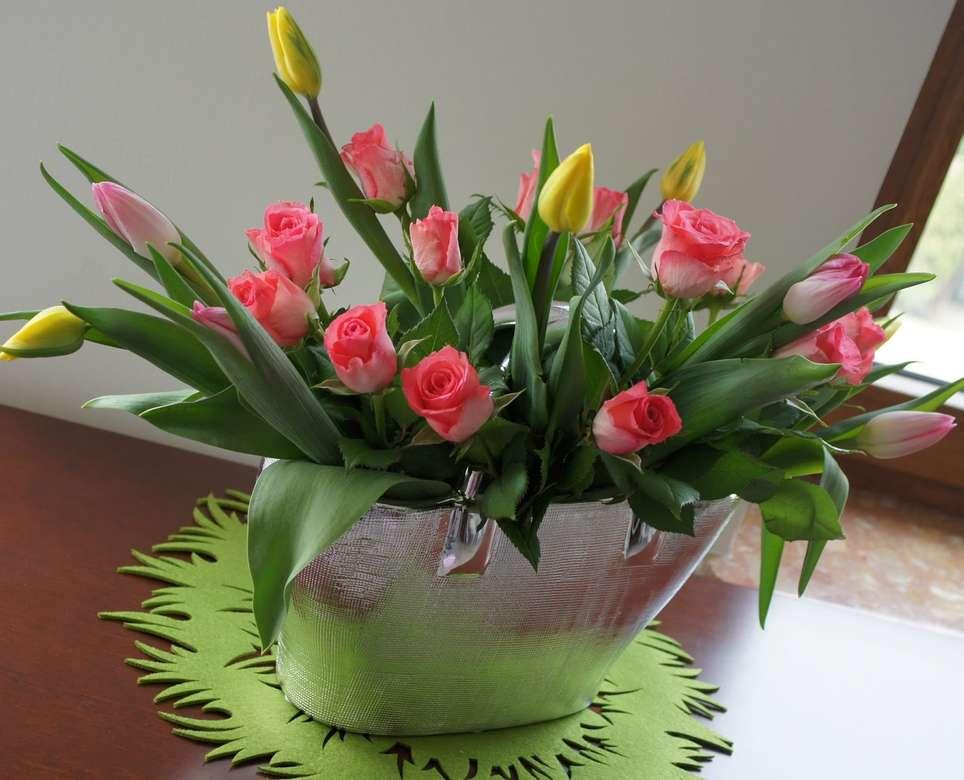 Tulpen mit Rosen - m (11×9)