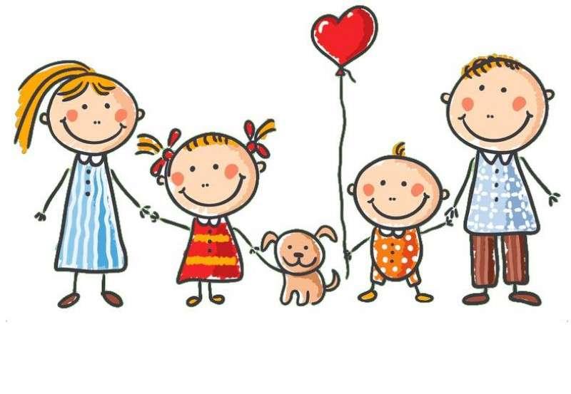 Ma famille - Une image qui représente les membres de la famille: la mère, le père, les enfants et leur animal de compagnie (2×2)