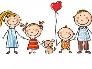 Mijn familie - Een afbeelding die familieleden vertegenwoordigt: moeder, vader, kinderen en hun huisdier