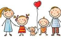 Meine Familie - Ein Bild, das Familienmitglieder darstellt: Mutter, Vater, Kinder und ihr Haustier