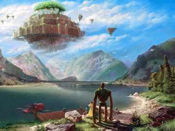 Dream world by the lake - Lake mountains strange landscape