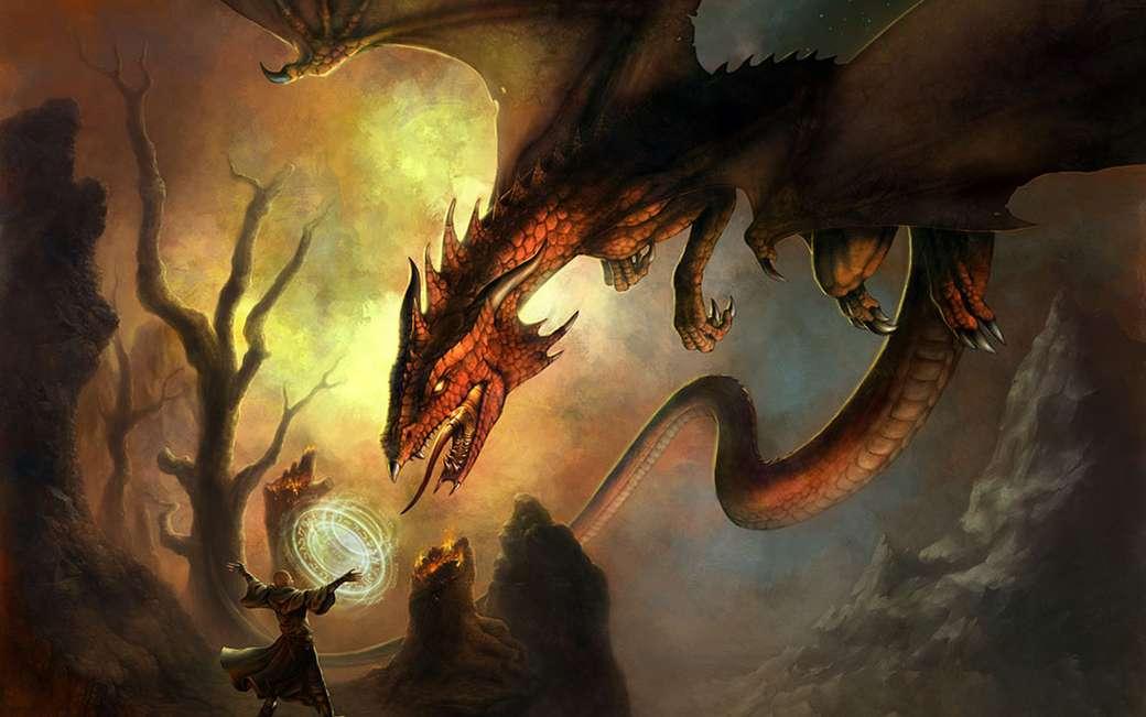 Goochelaar en draak - Goochelaar en draak van Imagexia. - (15×10)