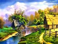 vízimalom a folyó mellett, házikó