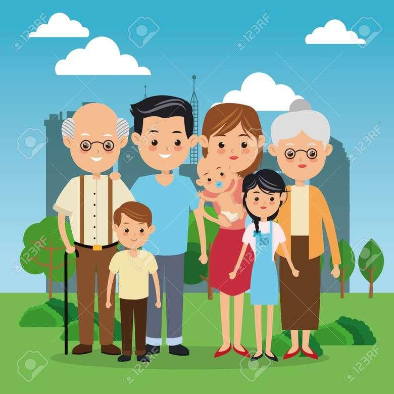 Familia mea - Familia mea frumoasă. În acest puzzle copii voor beschrijvende tabloul familia mea, aici sunt mama, tata, bunica, bunelul, eu, sora mai mare și frățiorul mic. Een puzzel die je kunt vinden in een (3×3)