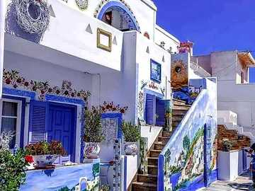 Grecia colorida. - Puzzle de paisaje.