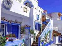 Grèce colorée. - Puzzle de paysage.