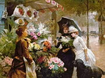 In front of the flower shop. - Art. Painting. Jigsaw puzzle.
