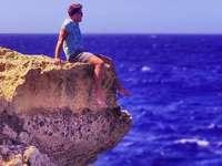 ember, szikla, öböl