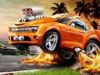 hotweels naranja - hotweels naranja con fuego rogger dooger