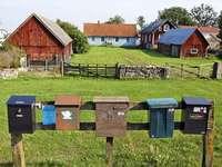 Házak és postafiókok Öland Svédországban