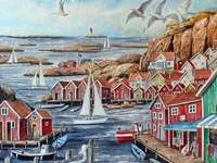 Skaergard Harbor Sweden Painting