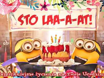 Minionki życzą Sto Lat - Minionki życzą Sto Laa-a-at! Kartka urodzinowa