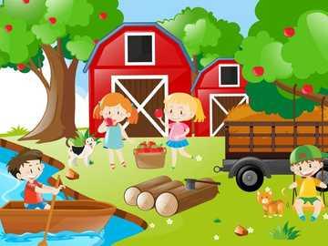 la cueillette des pommes - enfants cueillant des pommes dans une grange