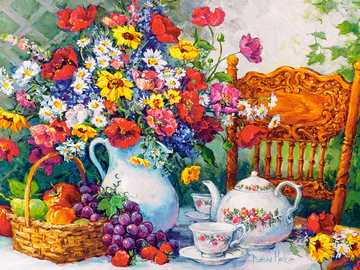 In a painted garden. - << In a painted garden >>