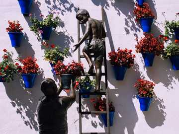 boy climbing on ladder near plant pots mounted on wall - This weekend I had the opportunity to visit Córdoba, Spain and this was a statue that was sitting,