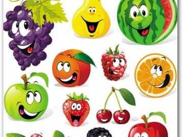die Früchte - Entdecken Sie die Früchte auf dem Bild, benennen Sie sie und sagen Sie die Farbe, die sie darstellt