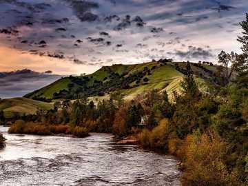 landscape - california - river and setting sun ---