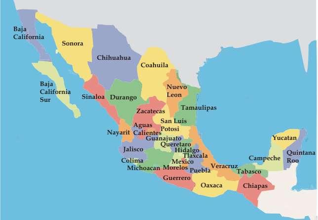 Podział polityczny Meksyku - Określ położenie geograficzne kraju (10×7)