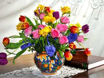 bouquet of spring flowers in a vase - m .......................