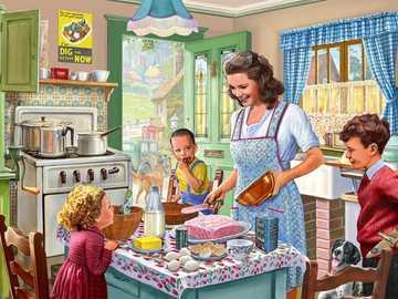 Życie rodzinne - Pieczenie z mamą w kuchni