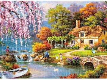 beautiful landscape with house by the lake - beautiful landscape with house by the lake