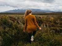 žena chůze v louky pod stratocomulus mraky
